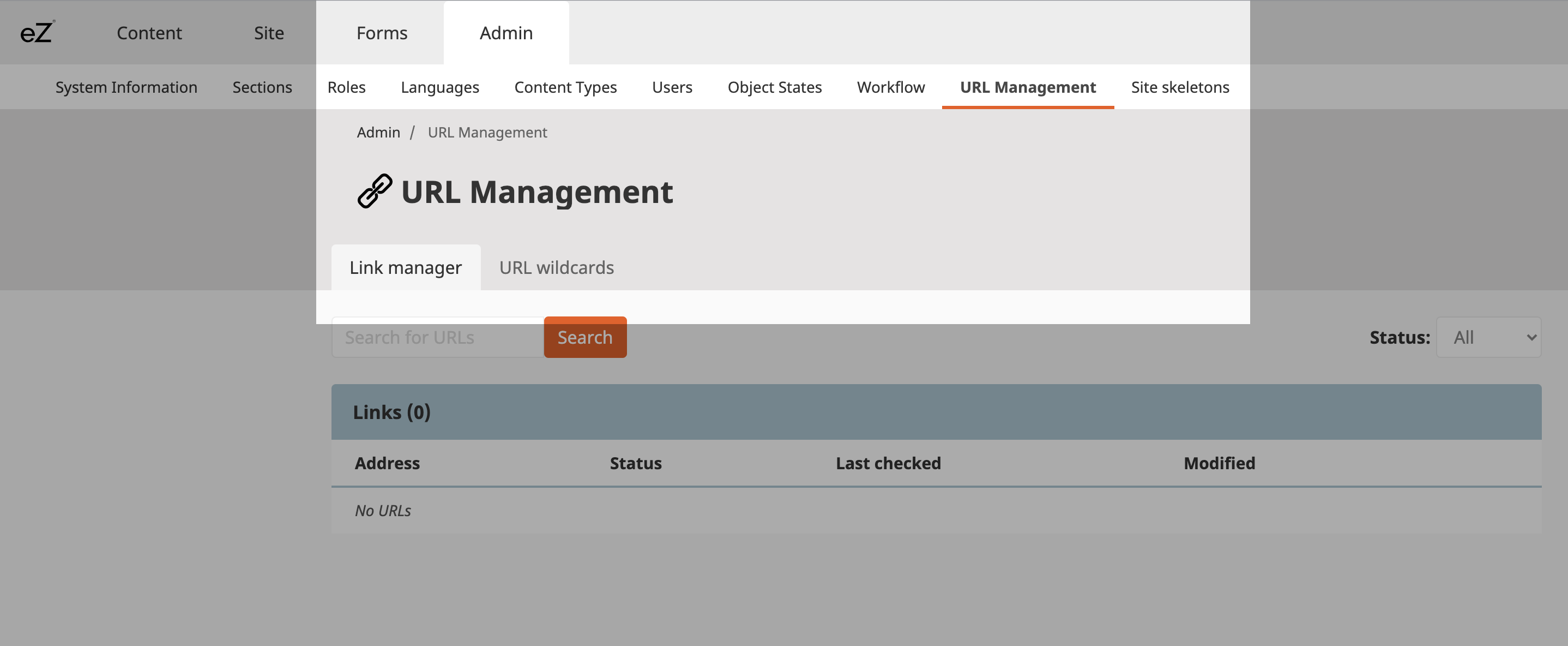 URL Management menu navigation in eZ Platform v3.1