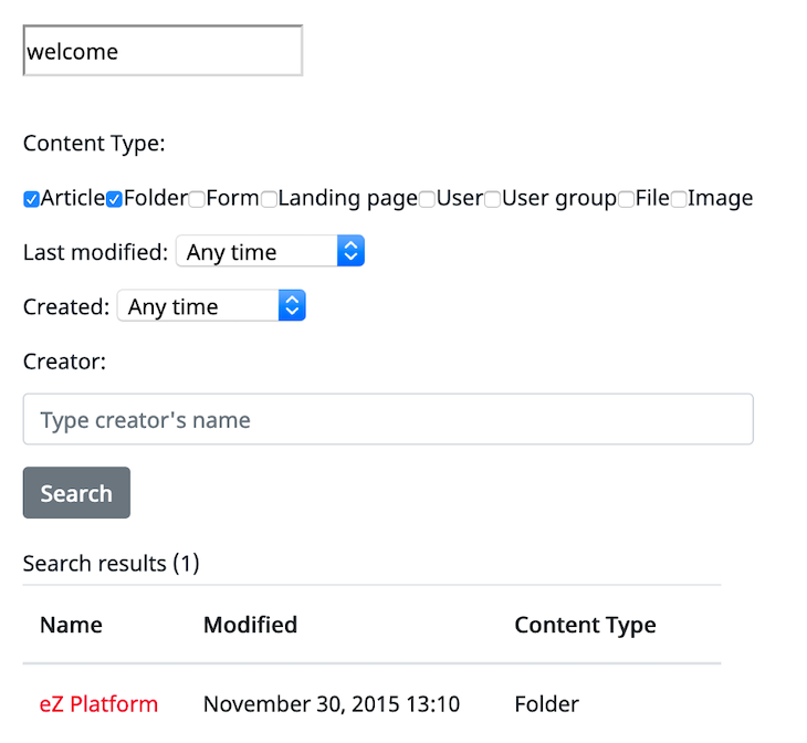 Search Controller with */search* URL path