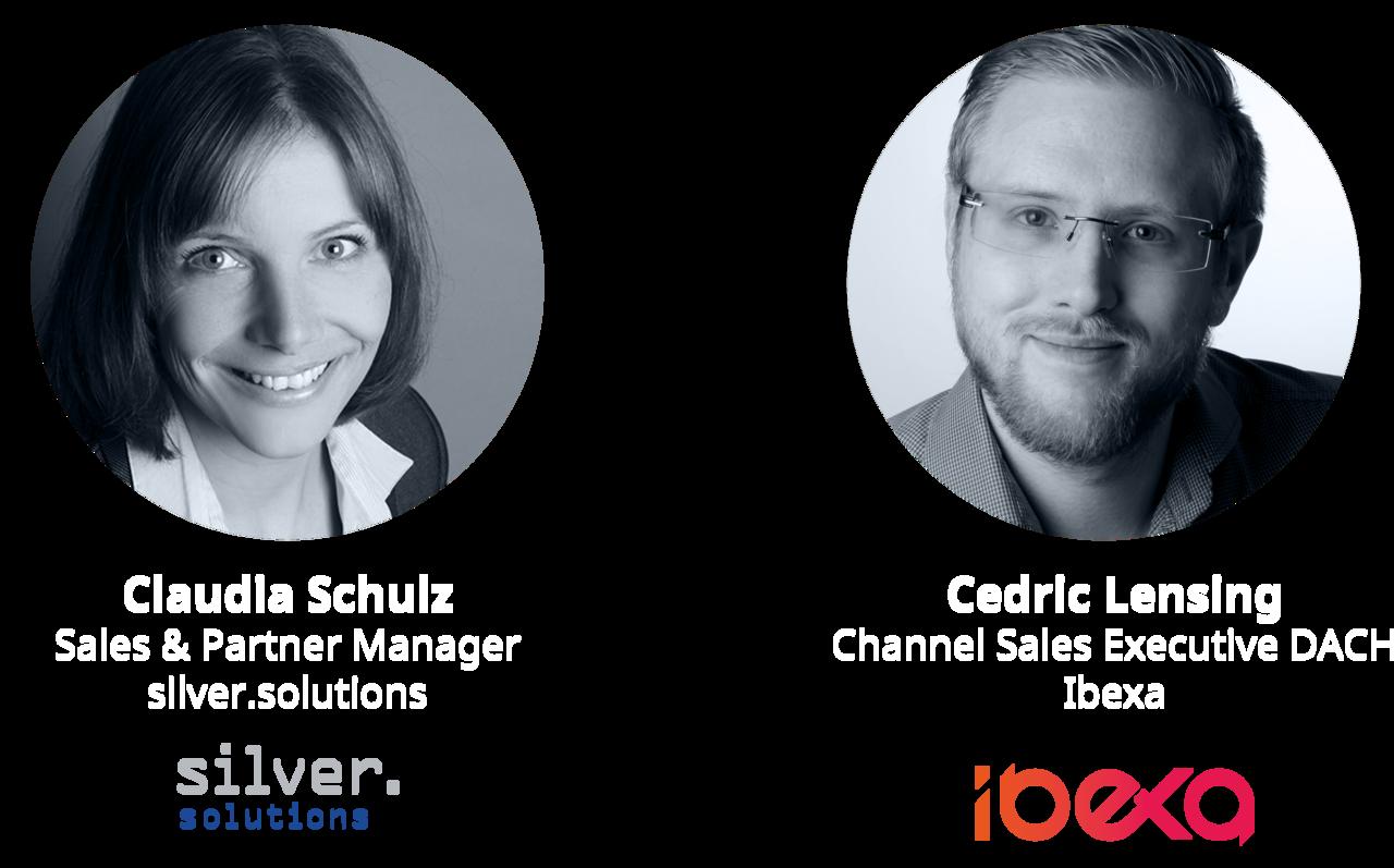 Sprecher: Claudia Schulz von silver.solutions und Cedric Lensing von Ibexa